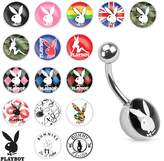 Playboy Bunny Print Inlay 316L Surgical Steel Navel Ring (Sold by Piece)