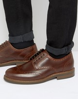 Asos Brogue Shoes In Brown Leather
