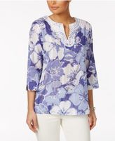 Alfred Dunner Reel It In Floral-Print Tunic