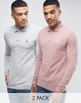 Asos 2 Pack Long Sleeve Pique Muscle Polo In Pink/Gray SAVE