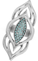 Lucky Brand Silver-Tone Blue Stone Cluster Statement Ring