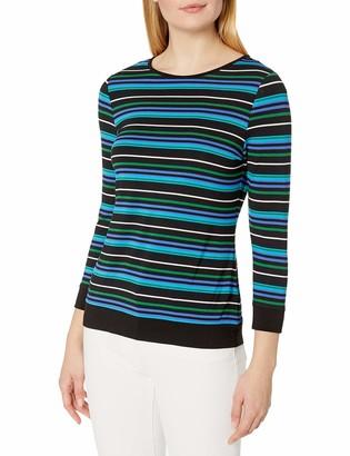 Vince Camuto Women's 3/4 Sleeve Landscape Stripe Boatneck Top