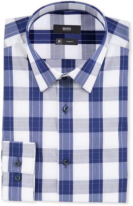 HUGO BOSS Men's Plaid Point-Collar Travel Dress Shirt