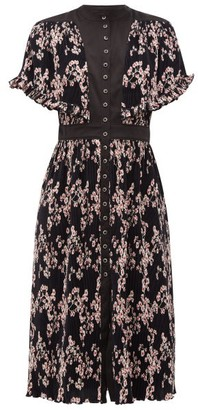 Paco Rabanne Floral-print Plisse Midi Dress - Black Multi
