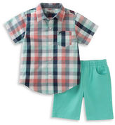 Kids Headquarters Baby Boys Two-Piece Checked Shirt and Solid Shorts Set