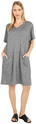 Eileen Fisher Organic Cotton Hemp Melange V-Neck Knee Length Dress (Ash) Women's Dress