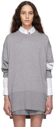 Thom Browne Grey Oversized 4-Bar Pullover Sweater