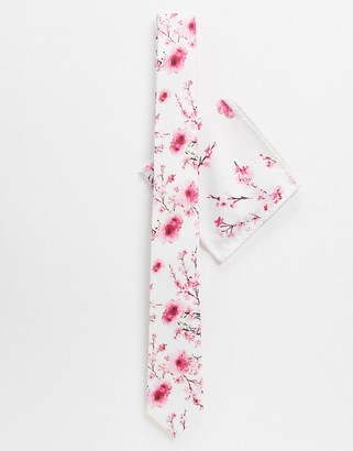 Twisted Tailor tie set with pink blossom print in white