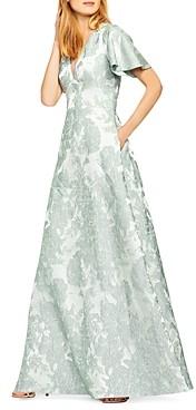 Aidan Mattox Floral Jacquard Flutter-Sleeve Gown