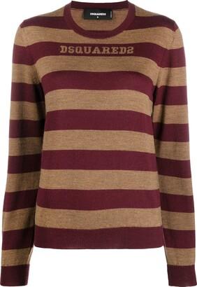 DSQUARED2 Striped Logo-Embroidered Jumper