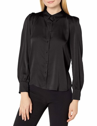Vince Camuto Women's Long Sleeve Button Down Hammer Satin Blouse