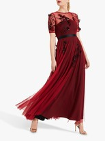 Phase Eight Collection 8 Anna Embroidered Maxi Dress, Brick Red/Black