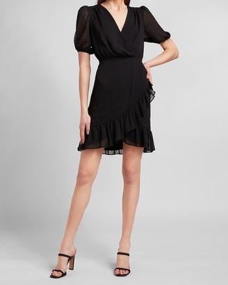 Express Clip Dot Ruffle Wrap Front Dress