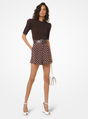 Michael Kors Polka Dot Silk Crepe De Chine Tap Shorts
