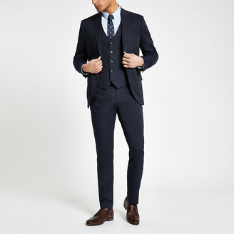 River Island Navy slim fit suit trousers