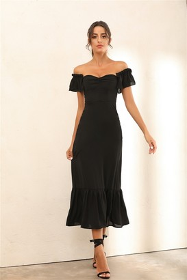 Miss Floral Off Shoulder Bardot Ruffle Hem Midi Dress In Black