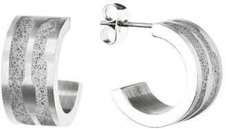 Gravelli Flow Concrete & Surgical Steel Hoop Earrings Grey