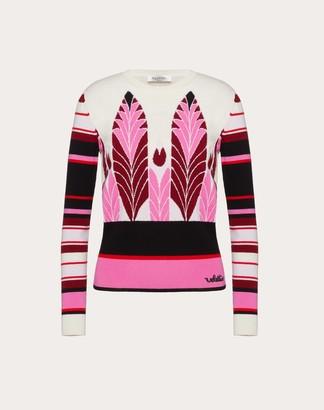 Valentino Cashmere Wool Jacquard Jumper Women Multicoloured Virgin Wool 70%, Cashmere 30% L