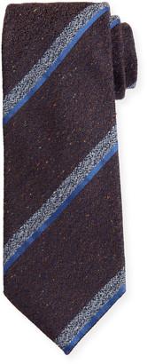 Canali Melange Stripe Silk-Wool Tie, Brown