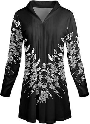 Lily Women's Tunics BLK - White & Black Floral V-Neck Tunic - Women & Plus