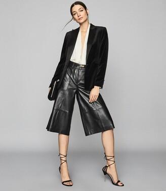 Reiss Rosalba - Long Sleeved Plunge Bodysuit in Ivory