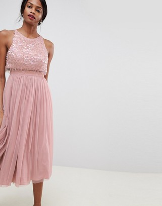 Asos Design DESIGN embellished droplet midi dress-Pink