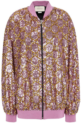 Gucci Lame-trimmed Sequined Tulle Bomber Jacket