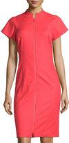 Lafayette 148 New York Brenda Zip-Front Short-Sleeve Sheath Dress, Tango Red