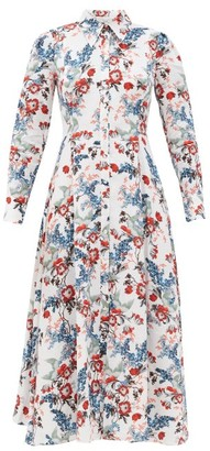 Erdem Josianne Bird Blossom-print Linen Midi Shirt Dress - White Print