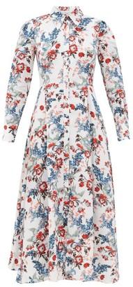 Erdem Josianne Bird Blossom-print Linen Midi Shirt Dress - White Print