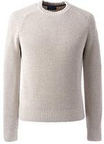 Lands' End Men's Tall Cotton Drifter Saddle Crew Shaker Marl Sweater-Barley Heather