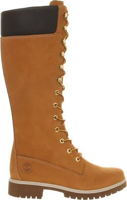 Timberland 14 inch premium nubuck leather boots, Women's, Size: 4, Wheat