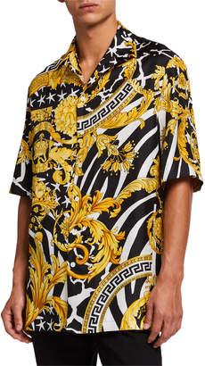 Versace Men's Jungle Baroque Silk Short-Sleeve Sport Shirt