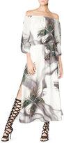 Tamara Mellon Off-The-Shoulder Printed Silk Peasant Dress