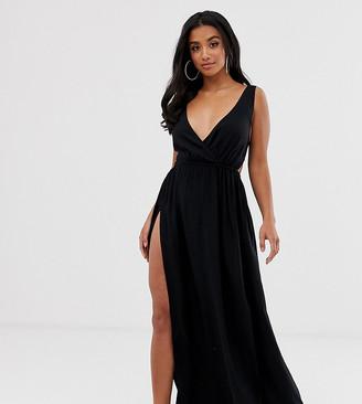Asos DESIGN PETITE tie back cross front split maxi beach dress in black