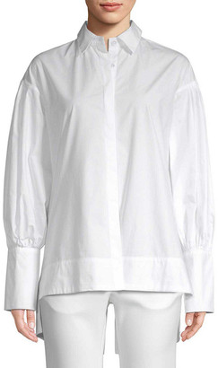 story. White High-Low Button-Front Shirt