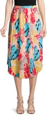 Laundry by Shelli Segal Printed Pleated Midi Skirt