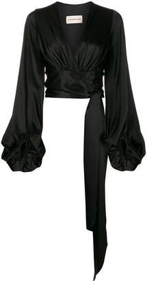 Alexandre Vauthier silk wrap front blouse