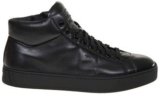 Santoni High Sneakers In Black Leather
