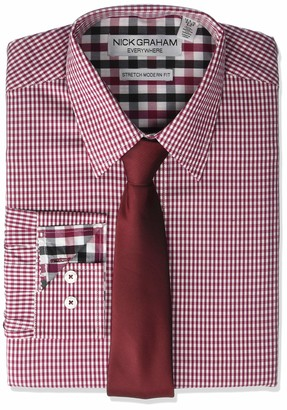 Nick Graham Men's Stretch Modern Fit Gingham Dress Shirt and Solid Tie Set