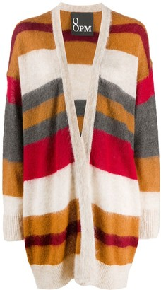8pm Striped Open Front Cardi-Coat