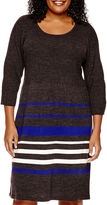 Studio 1 3/4-Sleeve Striped Sweater Dress - Plus