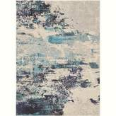 Celestial CES02 Ivory/Teal Blue Area Rug Colorful Contemporary Abstract By Nourison