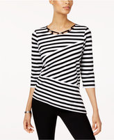 Alfred Dunner Closet Case Spliced Striped Top