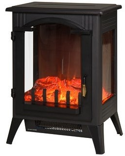 Overstock HOMCOM 750W/1500W Modern Electric Fireplace Heater with Realistic LED Faux Flame Effect