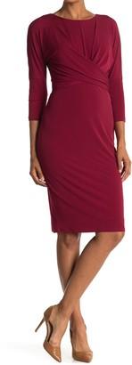 London Times Twist Front 3/4 Sleeve Sheath Dress