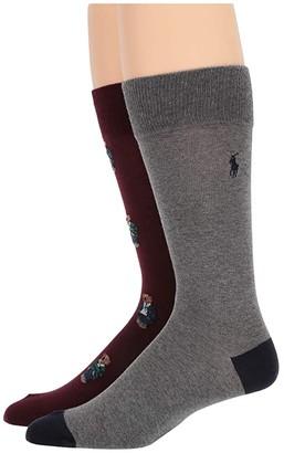 Polo Ralph Lauren 2-Pack Bear Quad Socks (Burgundy) Men's Crew Cut Socks Shoes