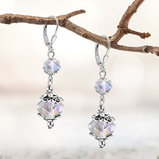 Besheek Silvertone Stainless Steel Clear AB Crystal Leverback Dangle Earrings