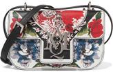 Alexander McQueen Insignia Printed Textured-leather Shoulder Bag - Black
