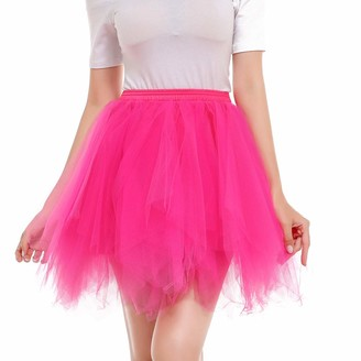Beetlenew Womens Dress Women Tutu Skirts Multi Layer Tulle Ballet Skirt Solid Dancing Pleated Skirt Casual High Waist Mini Skirt Fancy Adult Mesh Dancewear Petticoat Underskirt Flared Short Skirt Plus Size (XL